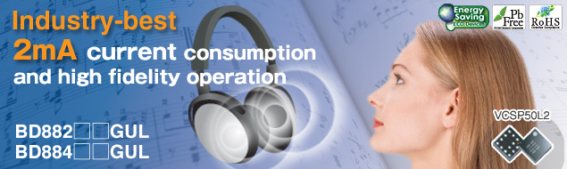 Industry-best 2mA current consumption and high fidelity operation